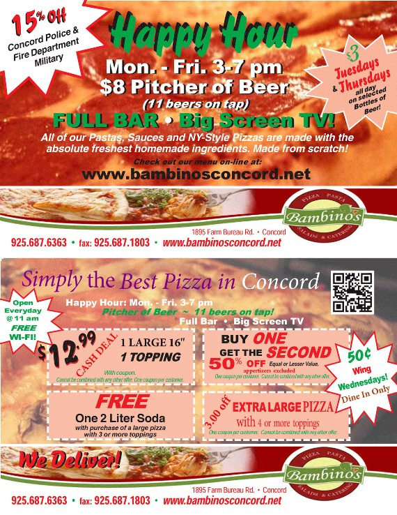 Bambino's Pizza Concord Coupon - Save Money