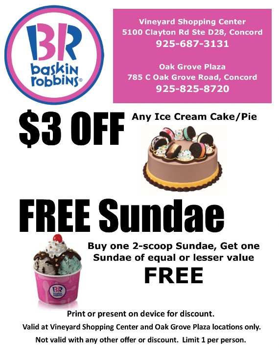 Baskin Robbins Ice-cream Concord Oak Grove and Vineyard Coupon