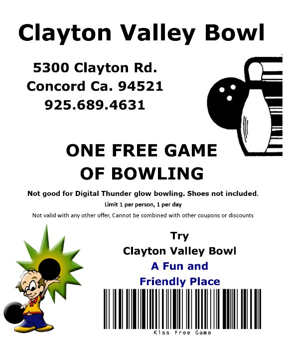 Clayton Valley Bowl Concord Coupon for Free Game