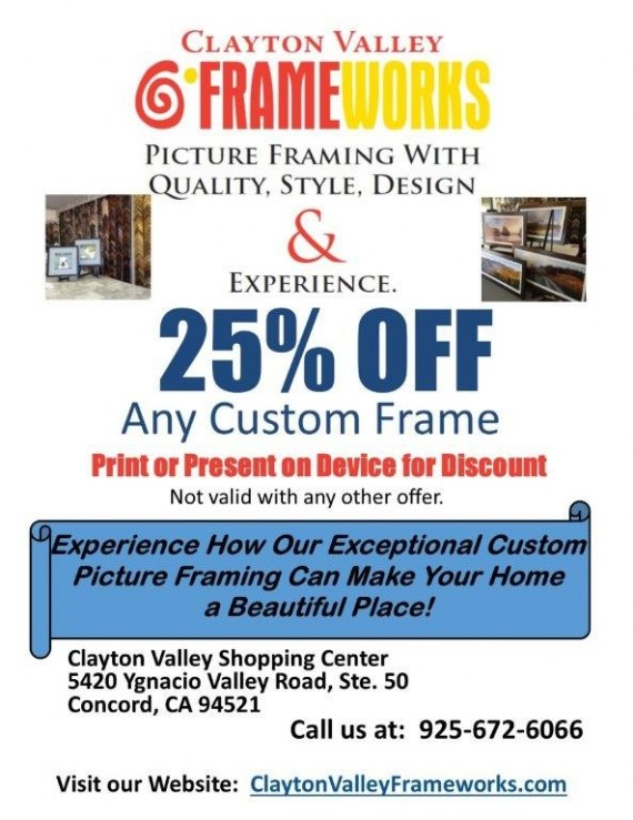 Coupon to save at Clayton Valley Frameworks