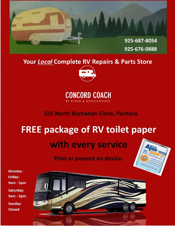 Concord Coach Coupon Contra Costa RV Service in Pacheco