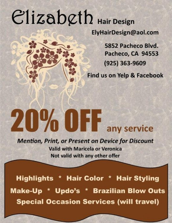 Elizabeth Hair Design Pacheco Coupon