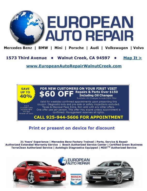 Coupon to save at European Auto Repair Walnut Creek