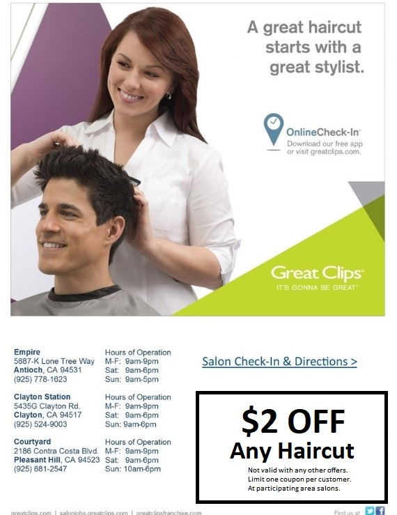Great Clips Coupon Antioch, Clayton, Pleasant Hill