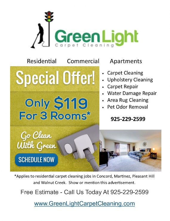 Coupon to save at Green Light Carpet Cleaning