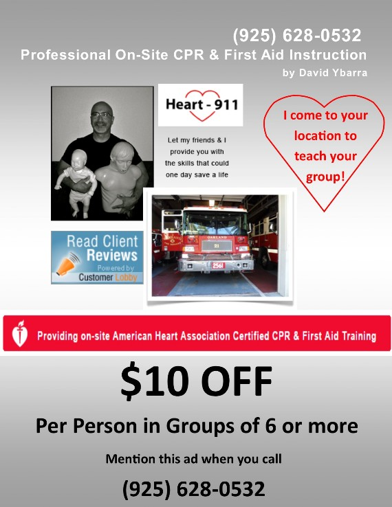 Heart 911 Professional On-Site CPR & First Aid Instruction by David Ybarra Coupon