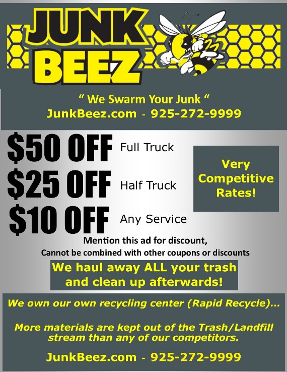 Junk Beez Hauling Coupon  Concord, Pacheco, Pleasant Hill and all of Contra Costa County