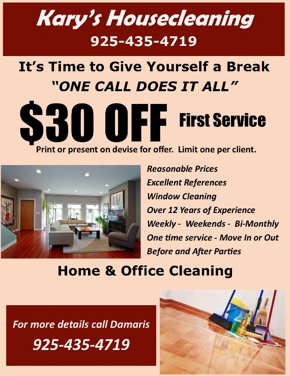 Kary's Housecleaning - Coupon Walnut Creek Martinez Pleasant Hill