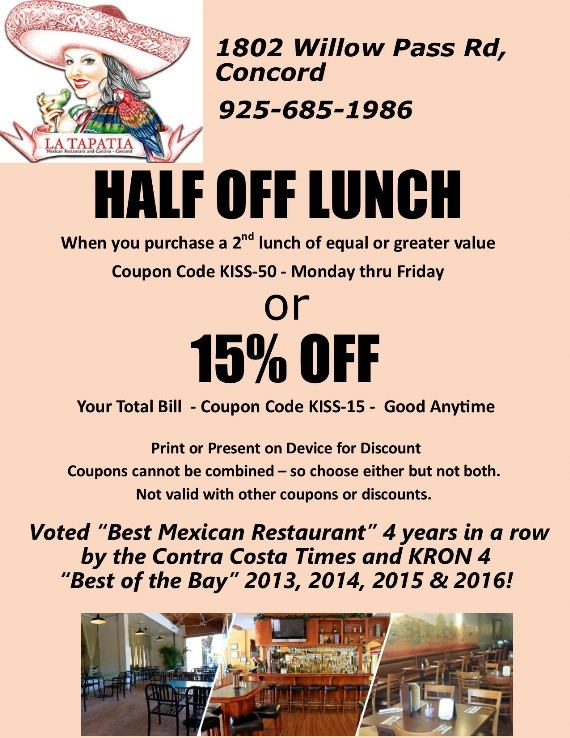 La Tapatia Concord  Mexican Restaurant and Cantina Coupon