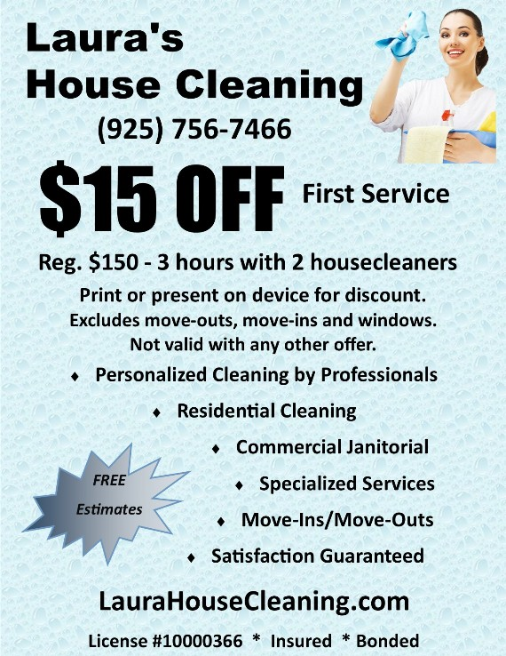 Laura's House Cleaning Concord Pittsburg Antioch Brentwood Coupon