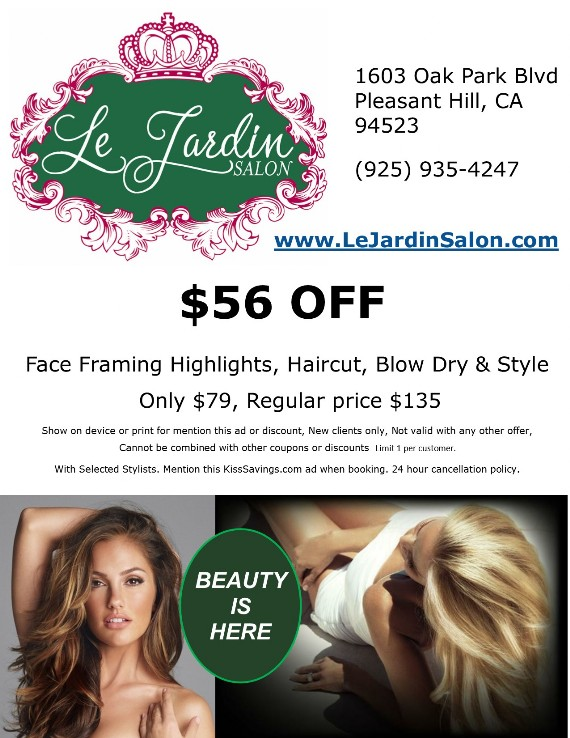 Coupon to save at Le Jardin Salon in Pleasant Hill