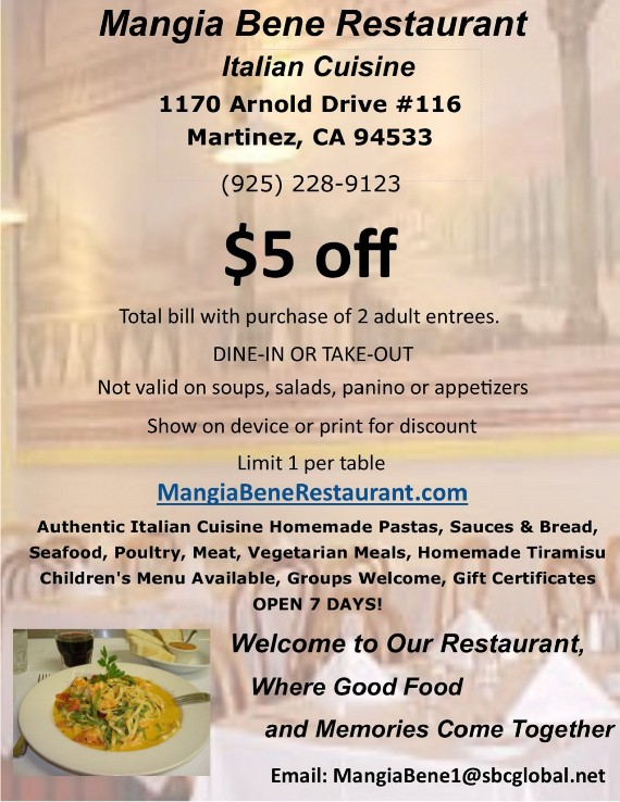 Mangia Bene Restaurant Martinez Coupon