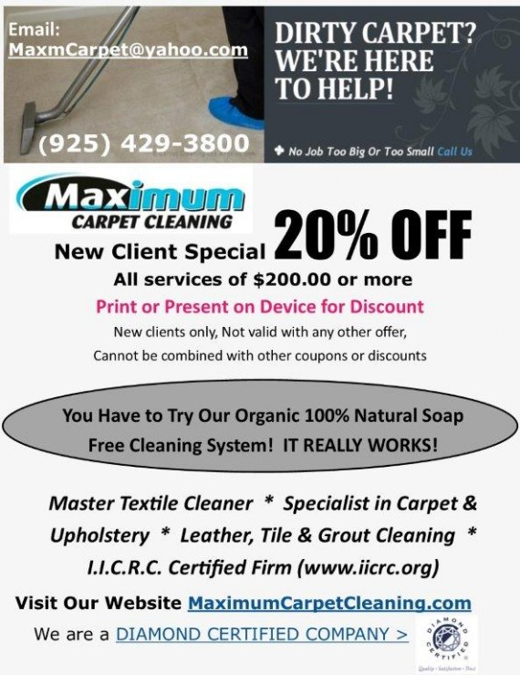 Coupon to save at Maximum Carpet Cleaning Contra Costa