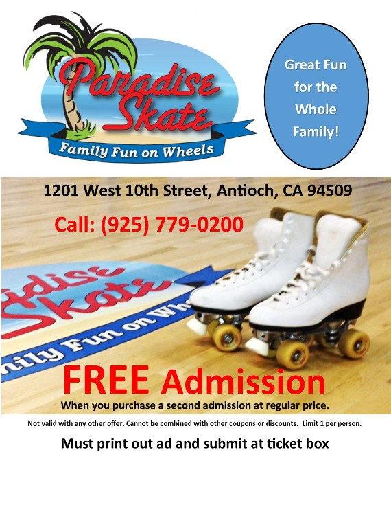 Paradise Skate Coupon Antioch