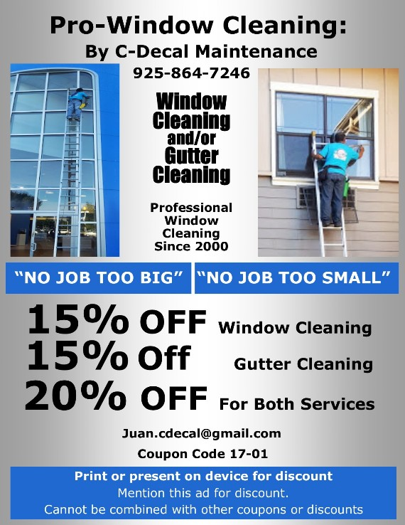 C-Decal Pro-Window Cleaning by Contra Costa County Coupon