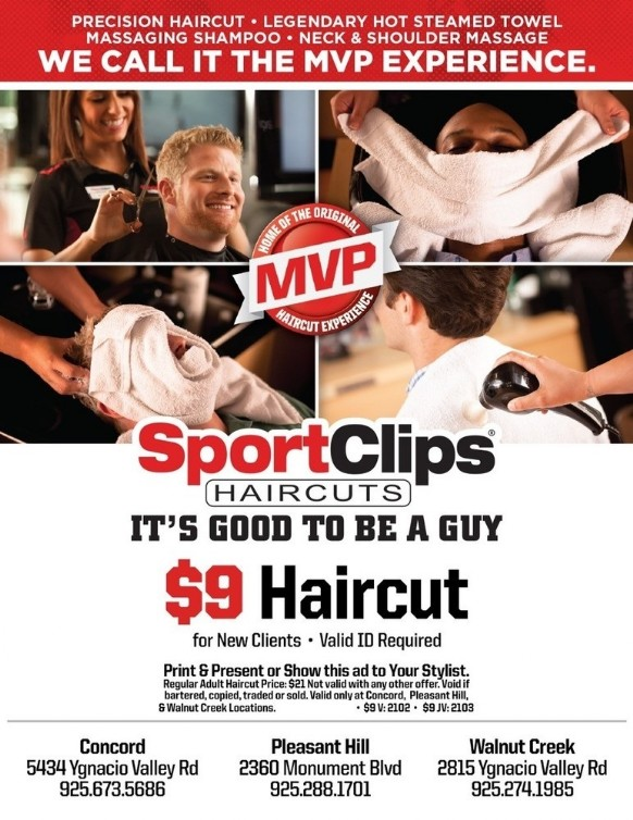 Coupon to save at Sports Clips Concord, Pleasant Hill, Walnut Creek