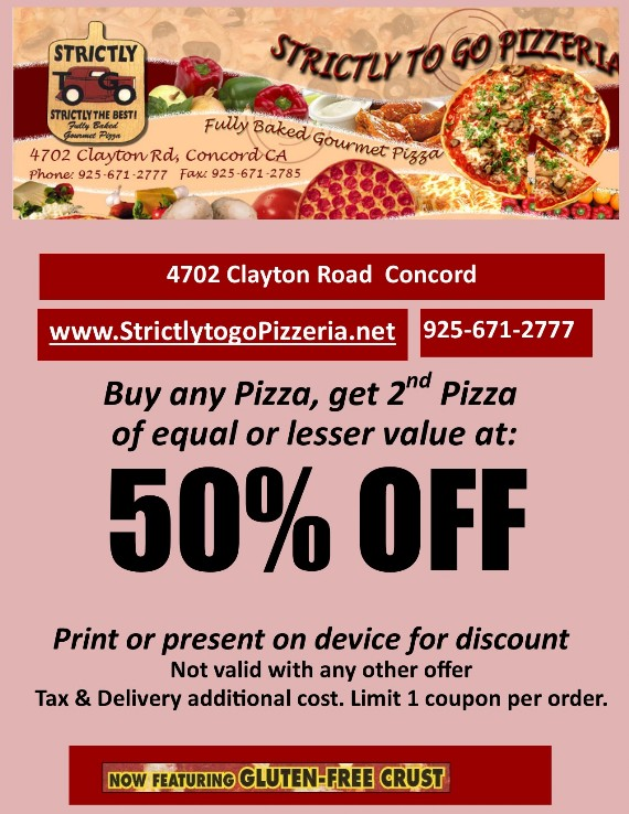 Strictly to go Pizzeria Concord coupon