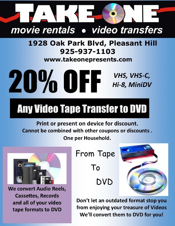 Take One Video Coupon Pleasant Hill