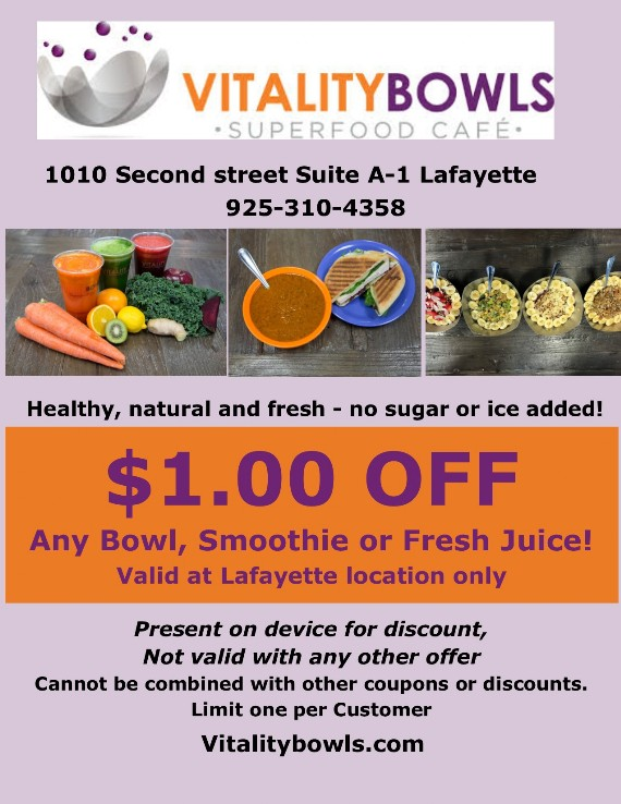 Kiss Coupon to save $1 at Vitality Bowls Lafayette