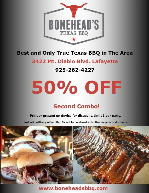 Save 50% OFF 2nd COmbo at Bonehead's BBQ in Lafayette